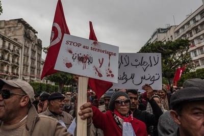 شارع الحبيب بورقيبة : مظاهرة ضد عودة الارهابيين من بؤر التوتر